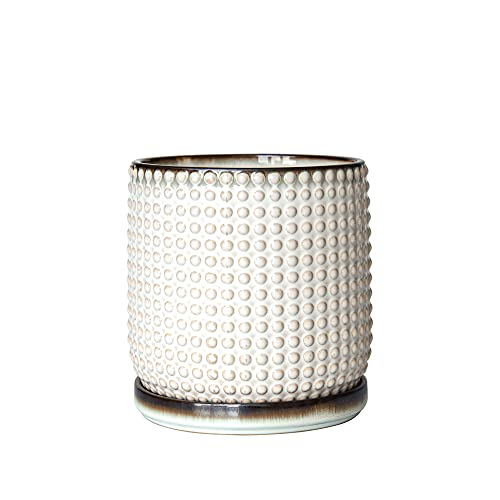 6 Inch Beaded Stoneware Planter Pot with Drainage Hole and Saucer, Smoked White, 27-M-K2-A-3
