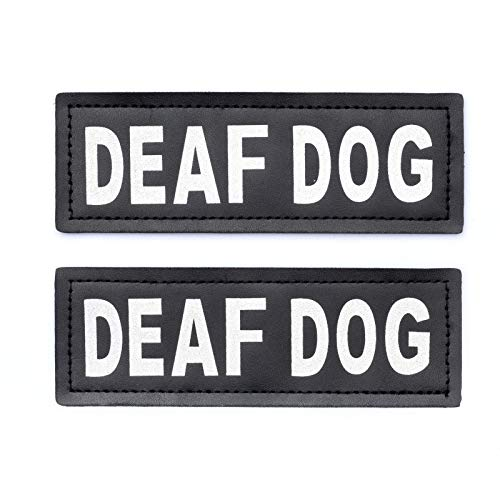 Industrial Puppy Deaf Dog Patch - Attachable Patches with Hook Backing for Deaf Dog Harness or Vest - Deaf Dog Supplies for Collar