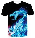Spreadhoodie Hombres Camiseta 3D Dragón Impresos O-Cuello Manga Corta Camiseta Divertidas T Shirt Tops Azul M