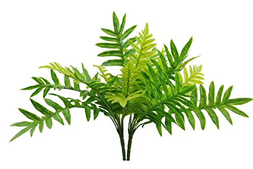 SN Decor Artificial Boston Fern Plants Bushes Faux Shrubs Greenery for Indoor Outdoor Decor Fern Bush (Pack of 2) Green