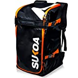 Ski Boot Bag Backpack 50L - Snowboard & Ski Boots, Helmet Travel Bag for Flying Air Travel - Ergonomic Skiing Gear Accessories (Gloves,...