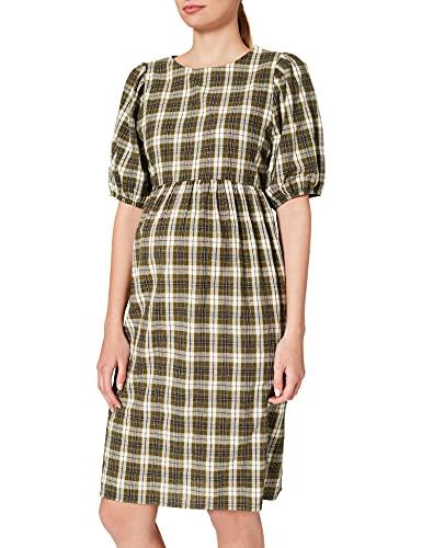 MAMALICIOUS MLCHELLE 2/4 Woven ABK Dress Vestido, Blanco Nieve/Checks: Verde Cuadros, M para Mujer