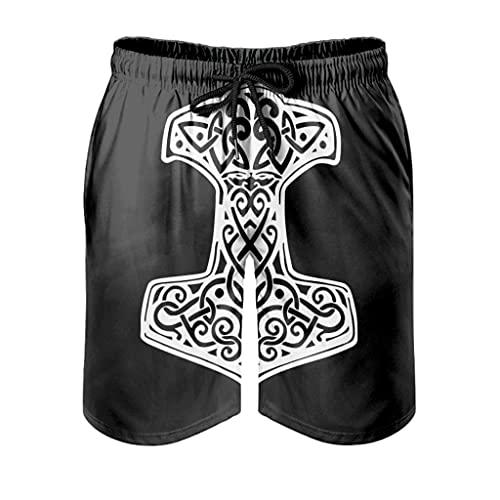 Bañador corto para hombre, diseño de martillo vikingo, cómodo, estampado 3D, con forro de malla, con cordón ajustable, bolsillos, Hombre, Blanco, 4XL