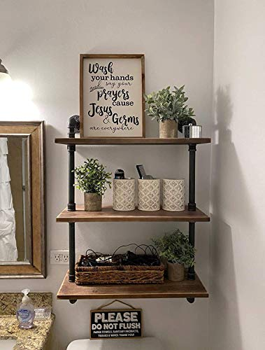 "Industrial Pipe Bookcase Wall Shelf,Rustic Floating Wood Shelves Shelving (24"")"