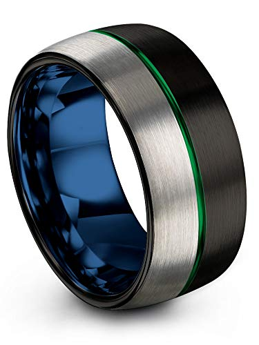 Chroma Color Collection Tungsten Carbide Wedding Band Ring 10mm for Men Women Blue Interior with Green Center Line Dome Black Grey Half Brushed Polished Comfort Fit Anniversary Size 11.5