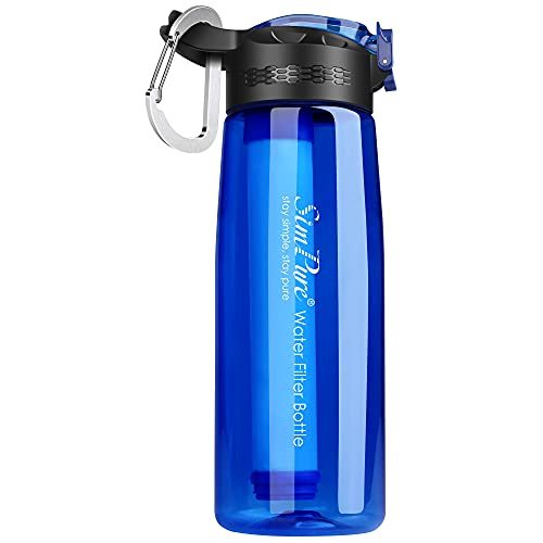 SimPure Filtered Water Bottle, Emergency Water Purifier with 4-Stage Integrated Filter Straw for Travel, Camping, Hiking, Backpacking, BPA Free