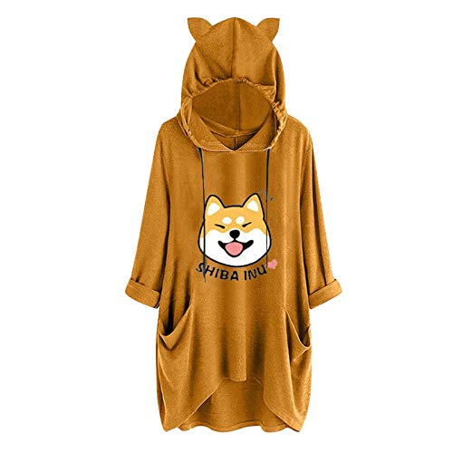 Aujelly Oversized Sweater Cartoon Hoodie Brief Print Kapuzenpullover Taschenhemd Lose...