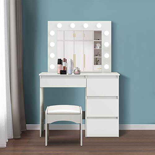 White Vanity Set with Lighted Mirror for Women Girls, Makeup Table with 12 LED Bulbs Vanity Bench and 4 Large Storage Drawers, Dressing Table for Bedroom