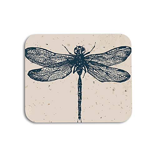 AOYEGO Dragonfly Mouse Pad Insect Vintage Dragonfly Painting Polka Dot Splashes Gaming Mousepad Rubber Large Pad Non-Slip for Computer Laptop Office Work Desk 9.5x7.9 Inch Brown