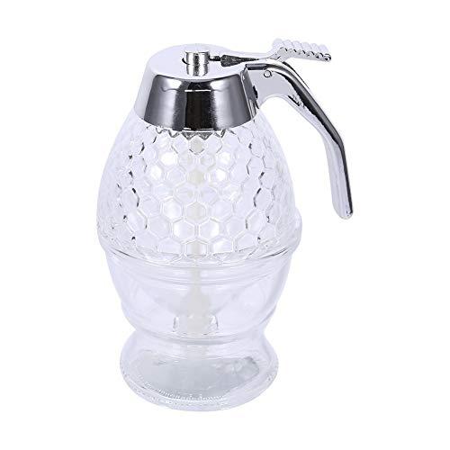 Dispensador de Miel, Tarro de Miel de Acrílico 200ml Botella de goteo para Jarabe Miel de Abeja Zumo Tarro para Desayuno Herramienta de Cocina