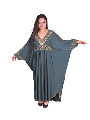 Egypt Bazar Damen Kaftan im Oriental Style, Einheitsgröße: M bis 3XL (40-58), (Petrol/Gold)