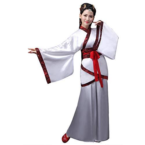 Xingsiyue Chino Antiguo Tradicional Hanfu Disfraz Etapa de Rendimiento Traje de Tang Vestido de Baile para Mujer (Blanco,36)