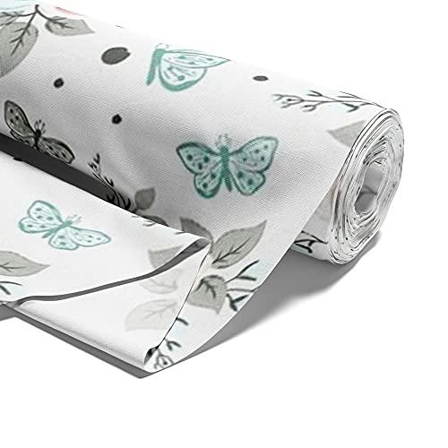 Amazinggirl Tela de algodón con estrellas, por metros, color blanco, 100% algodón, tejidos para coser, tejido de algodón liso, certificado Öko-Tex 2M