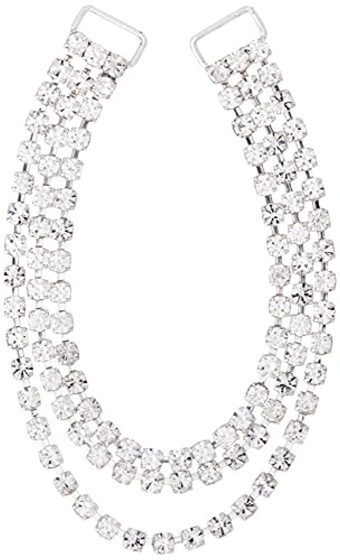 Mode Beads 3-Row Hanging Rhinestone Connector, 7-Inch, Crystal/Silver