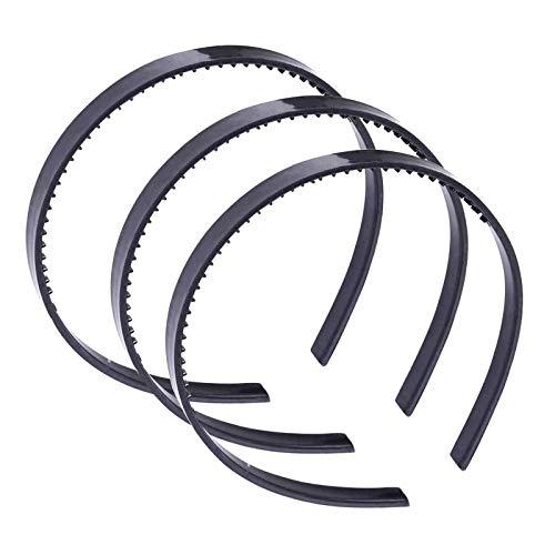 JZZJ Kunststoff Stirnband DIY Haar Band Haarband Haarreif mit Zähnen für Männer und Damen, 15 Stück (Schwarz)