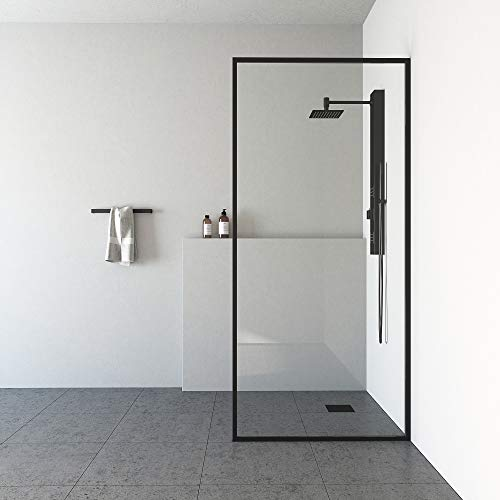 VIGO Meridian 34 1/8 inch x 74 inch Fixed Single Panel Bathroom Shower Door Frame with Clear 3/8