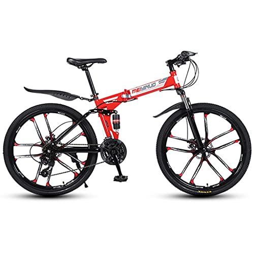 Bicicleta de montaña Mountainbike Bicicleta Bici de montaña plegable de 26' Full Speed 21/24/27 Suspensión de doble freno de disco de bicicletas MTB Ligera Bicicleta De Montaña Mountainbike MTB Bici