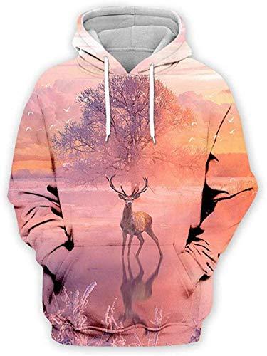 yyqx container 3D Sweatshirt Hoodie Elk Unisex Hooded Casual Hoodies Mode Sweatshirt 3D Printing Hoodie Eye-catching Truien met Kangoeroe Pocket