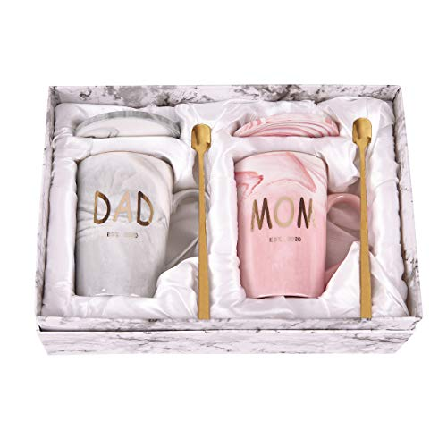 Dad and Mom Marble Coffee Mug Set Est 2020 New Mom and Dad Mug Gifts for New and Expecting Parents to Be Coffee Cup 14 Oz with Gift Box