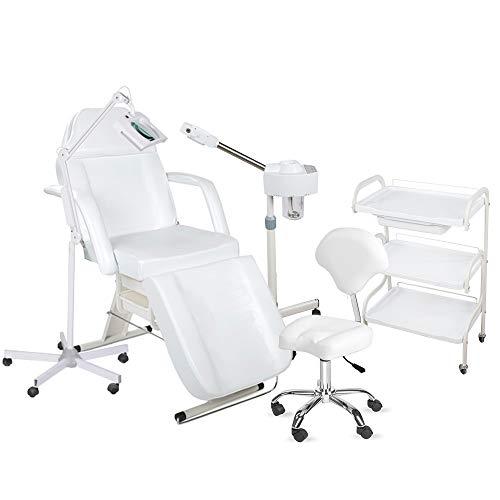 900202a Kosmetikkabine Liege Bedampfer Lupenlampe Arbeitsstuhl Beistelltisch Salon weiß