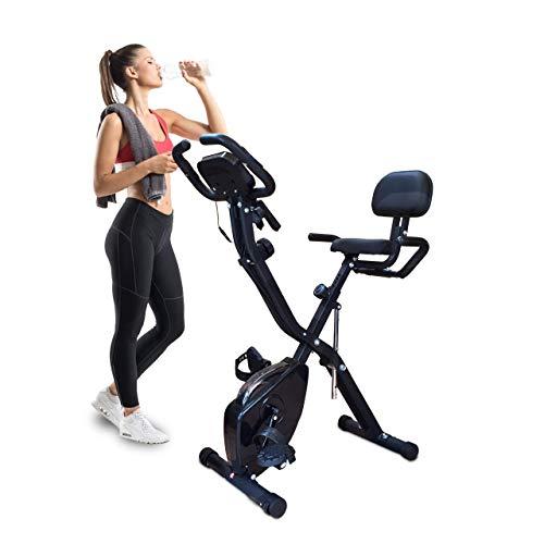 Texte modifié Bicicleta estática plegable con 10 niveles de resistencia magnética. distancia ajustable bicicleta estática de ejercicios para hombre y mujer. Vendido por ANNA-FIT SAS