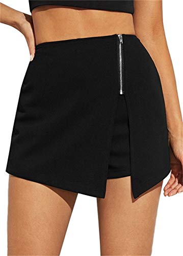 SheIn Women's Zip Up Asymmetrical Split Hem Skirt with Skorts Black X-Large