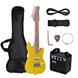 Muslady 28 Inch Mini ST Electric Guitar Kit for Kids Children Maple Neck Paulownia Body with Mini Amplifier Guitar Bag Strap Pick String Audio Cable Right-Handed Style