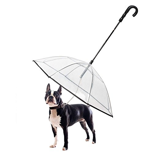 Transparenter Hundeschirm/Pet Umbrella, COUTUDI Haustierregen Zubehör mit Ultra Stark Eingebauter Leine Ideal für Welpen von 20 Zoll Zurück