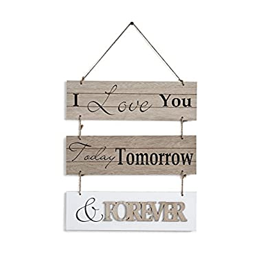 "Danya B. ""I Love You Today, Tomorrow, & Forever"" Sectioned Wooden Wall Plaque"
