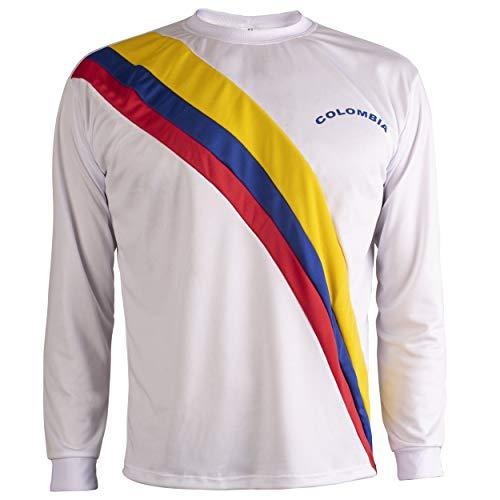 JL Sport Colombia Camiseta Retro Fútbol Hombrega Larga para Hombre - L