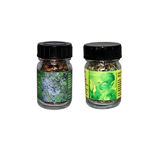 flora perpetua Thomas Kinkele e.K. Räucherung Räuchermischung 2er Set Green Man und NATÜRLICHE PRÄSENZ, in 50 ml Glasfläschen
