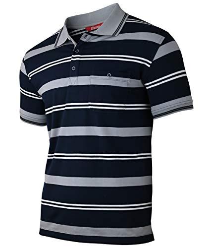 Soltice Herren Polo Shirts Kurzarm, Gestreifte Polohemden mit Brusttasche, Blousonshirts, T-Shirt aus Baumwolle-Mix (M bis 3XL) (L, [A1] Grau 100)