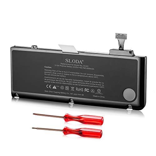 """SLODA Batería para Macbook Pro 13"""" A1322 A1278 (Medio 2009, Medio 2010, Temprano 2011, Fin 2011, Medio 2012) Batería Repuesto para Portátil [Li-Polymer 10.95V 6000mAh]"""