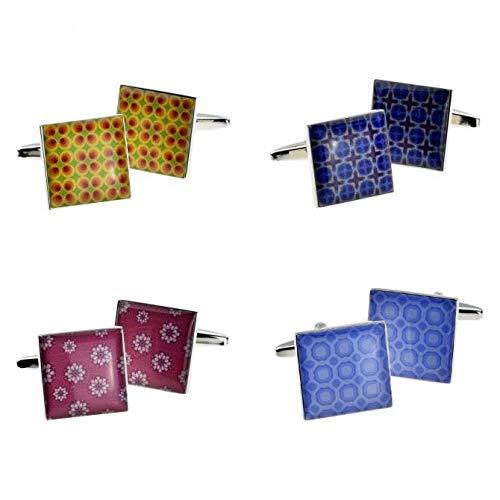 Ashton en Finch stijlvolle tegel ontwerp manchetknopen in 4 variaties met geschenkdoos en verzonden uit het Verenigd Koninkrijk