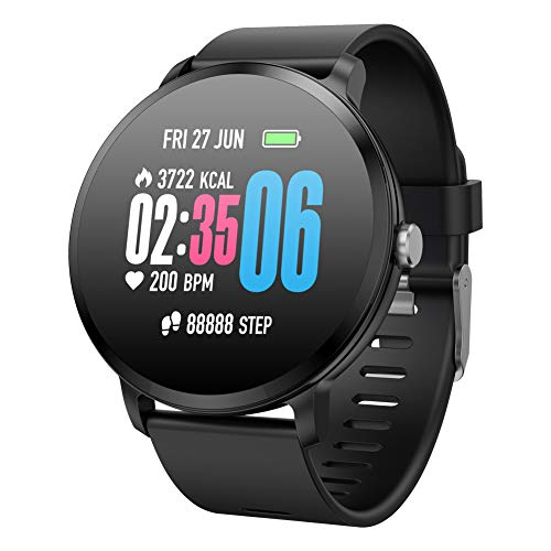 Padgene SmartWatch Pulsera Actividad Reloj Inteligente Deportivo IP67 Bluetooth con Pulsómetro Monitor de Sueño, Música, Cámara Remota, Notificación de Llamada Mensaje para Android e iOS (Negro)