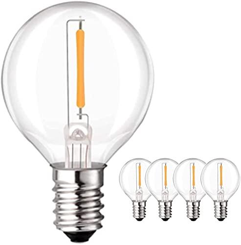 4 PACK LED G40 Bulbs, 3W Warm White E12 3V Low-Voltage LED Bulbs, 360 Angle LED Light Bulbs for...