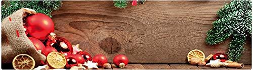 matches21 Küchenläufer Teppichläufer Teppich Läufer Weihnachten Deko & Holz 50x180x0,4 cm maschinenwaschbar Rutschfest Küchenvorleger