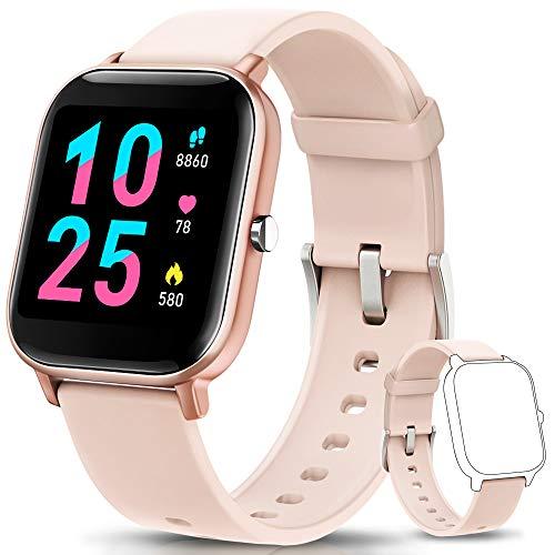 AIMIUVEI Smartwatch, Reloj Inteligente IP67 con Pulsómetro, Presión Arterial, 7 Modos de Deportes, Monitor de Sueño Caloría 1.4 Inch Pantalla Táctil Smartwatch para Mujer y Hombre (Oro)