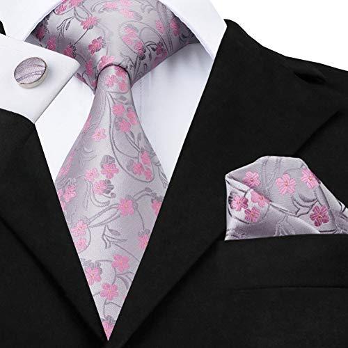 WOXHY Herren Krawatte Sn-1049 Grau Rosa Floral Krawatte Einstecktuch Manschettenknöpfe Sets Männer 100% Seidenkrawatten Für Männer Formelle Hochzeit Party Bräutigam