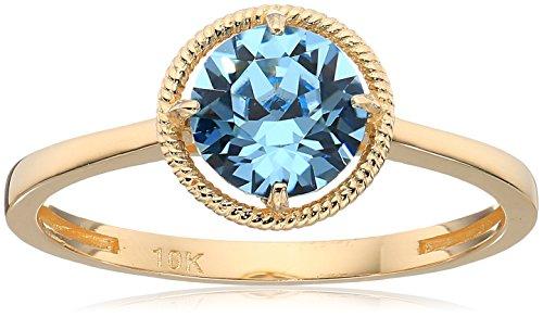 10k Gold Swarovski Crystal March Birthstone Ring, Size 6