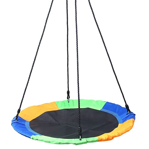 eLy Round Nest Swing For Children Adults, Round Children Kids Tree Swing Seat Nest Swing Chair For Outdoor,Adjustable,Reusable,For Up To 300 Kg