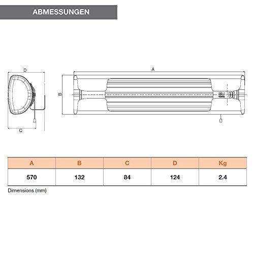 Vortice Wand-Heizung mit Zugschnur, Infrarot, 600/1200/1800 W, Thermologika Design, 1 Stück, licht grau, 70003 - 2
