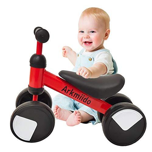 Loopfiets peuterfietsen voor 1-2 jaar oud, koolstofstalen frame zonder pedaal Looptrainingsfiets Kinderen loopfietsen, jongens meisjes verjaardagscadeau (rood) (rood)