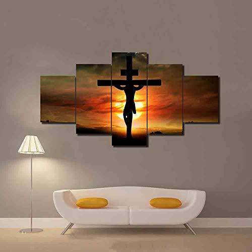 DXZJN 5 Dipinti su Tela Quadro su Tela Poster Foto Quadro Stampato Gesù Cristo Croce Dio Immagine Paesaggio Tramonto Tela Arte HD Stampa Famiglia Decorazione Cartone Animato Bambino Ufficio 200X100CM