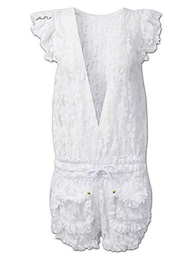 Trajes de baño para mujer, color blanco, para playa, con encaje de ganchillo, color blanco, talla: S