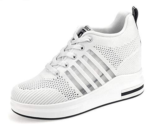 AONEGOLD® Sneakers Donna Zeppa Interna Scarpe da Ginnastica Basse Sportive Fitness Sneakers...