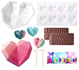 Heart Shaped Chocolate Mold Set(regule mold and 8-cell mold) - Silicone Mousse Cake Mold Trays Chocolate Candy Dessert Ice Cream Ice cube Z Letters/Numbers Mold Wooden Hammers for Cake Decoration