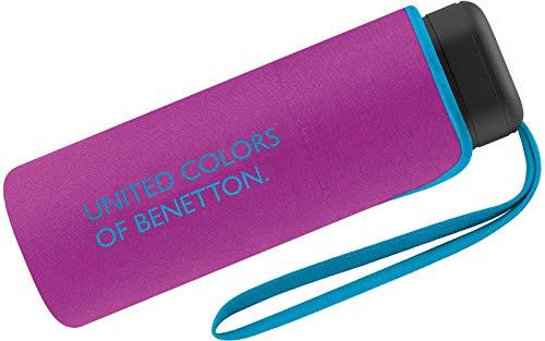 Benetton Regenschirm Schirm Taschenschirm klein flach & leicht (Purple)