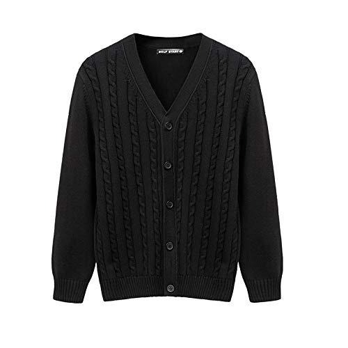 Cárdigan con Cuello en V para Hombre Chaqueta de Punto Punto Trenzado Algodón de Color Liso Espesar Cómodo Abrigo de suéter Informal cálido 3X-Large