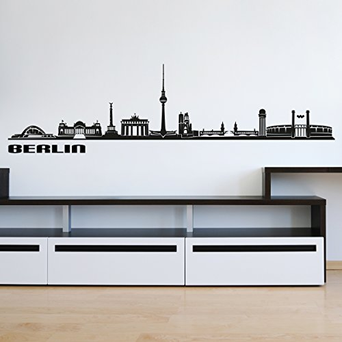 Wandkings Skyline - Deine Stadt wählbar - Berlin - 125 x 27 cm - Wandaufkleber Wandsticker Wandtattoo